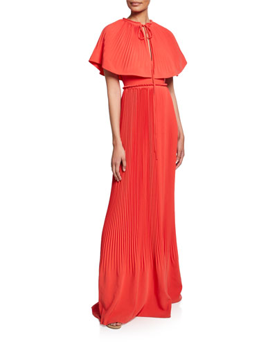 Pleated Capelet Gown