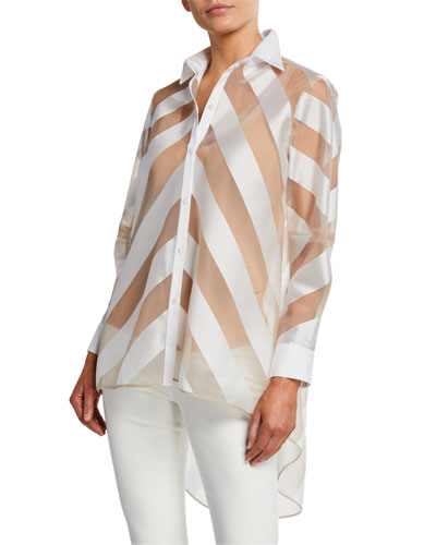 Sheer-Striped High-Low Button-Front Shirt