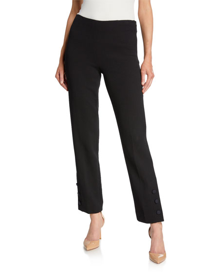 Lela Rose Straight Leg Button-Placket Pants