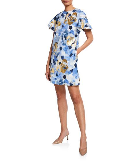 Lela Rose FLUTTER-SLEEVE FLORAL PRINT TUNIC DRESS