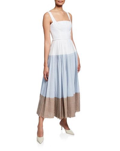 Sleeveless Gingham Blocked Dress