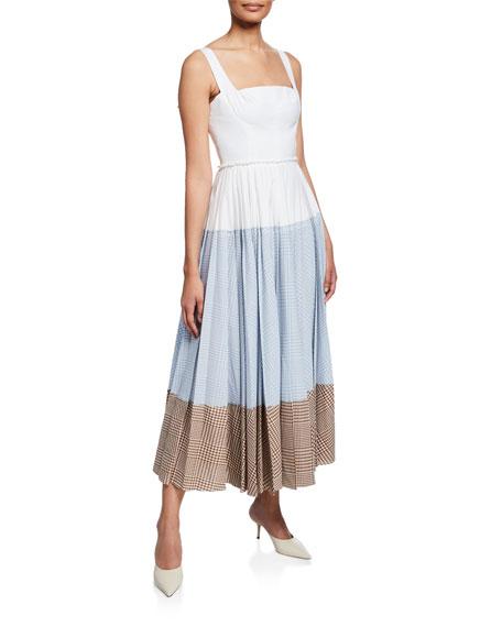Lela Rose SLEEVELESS GINGHAM BLOCKED DRESS