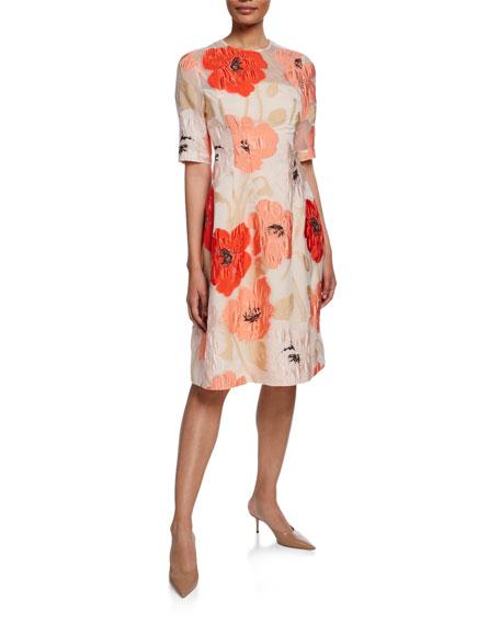 Lela Rose Holly 1/2-Sleeve Crewneck Dress