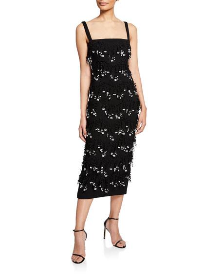 Lela Rose Sleeveless Tier-Embroidered Sheath Dress