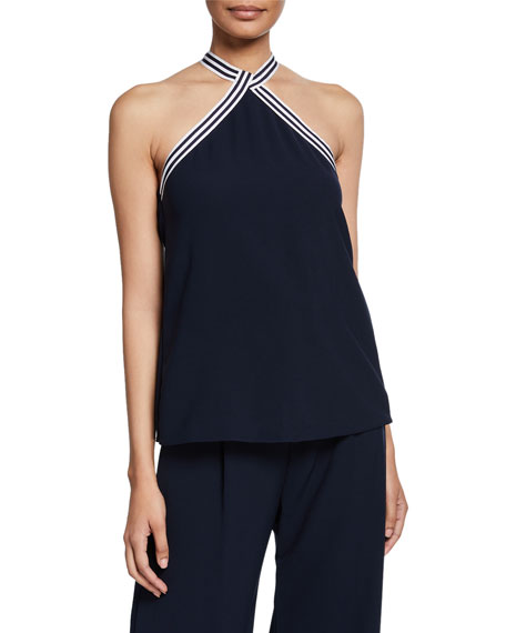 Striped-Trim Jersey Halter Top