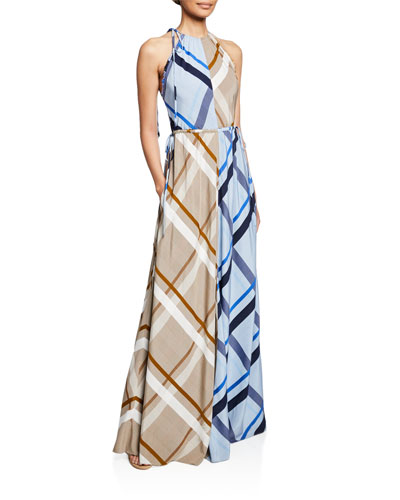 Halter Colorblocked Checked Gown