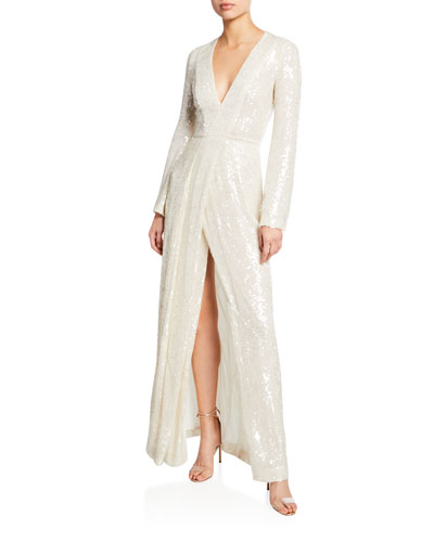 84eaea14685 Long-Sleeve Sequin-Embroidered Gown Quick Look. Galvan