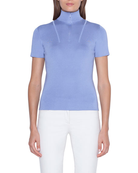 Short-Sleeve Mock-Neck Sweater
