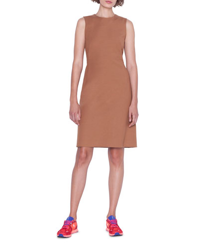 Sleeveless Cotton-Silk Crepe Dress