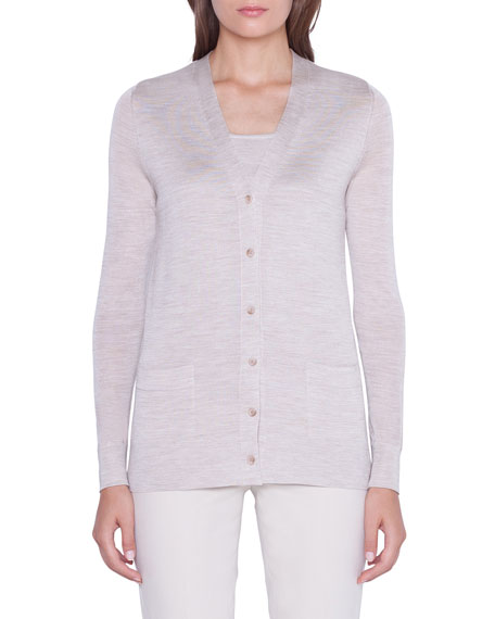 Akris Tulle-Back Button-Front Cardigan