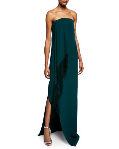 Strapless Fold-Over Fringed Dress w/ Slit