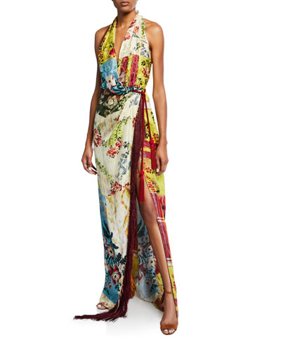Halter Patchwork Silk V-Neck Open Long Dress