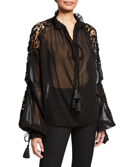 Oscar De La Renta SHEER COTTON BLOUSE WITH OPEN LACE DETAIL