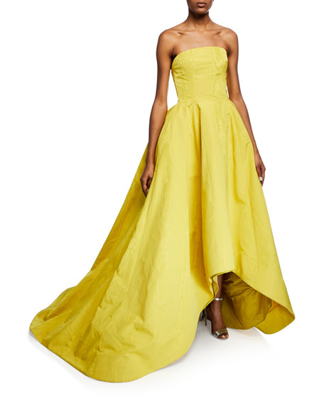 Strapless High-Low Faille Gown