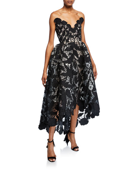 Deep V-Embroidered High-Low Gown