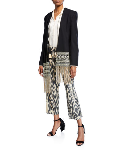 Asymmetric Embroidered Fringe-Hem Blazer