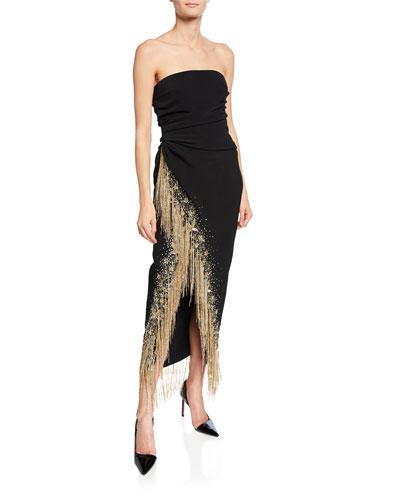 Strapless Fringed-Slit Gown