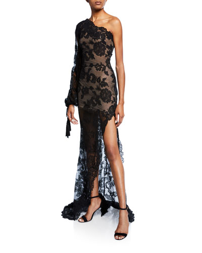 One-Shoulder Lace Slit-Leg Gown