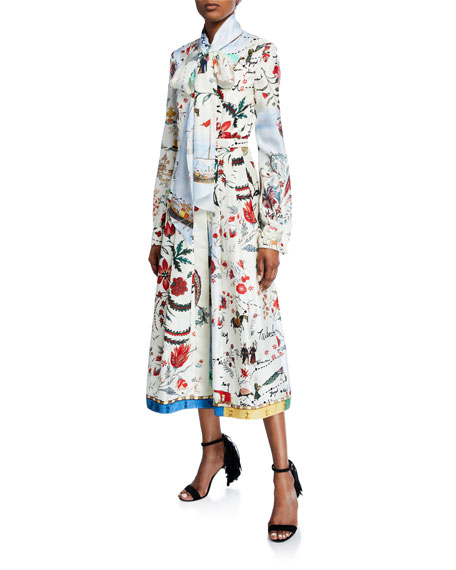 Tie-Neck Multi-Patterned Long Sleeve Dress