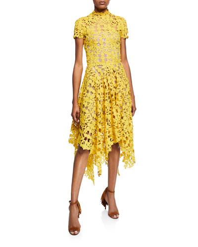 Cap-Sleeve Lace Illusion Cocktail Dress