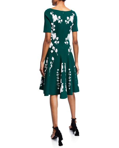 Short-Sleeve Floral Knee-Length Dress