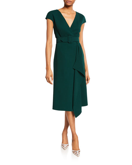 Short-Sleeve V-Neck Belted Day Dress