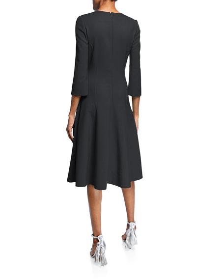 3/4-Sleeve Stretch-Wool Dress
