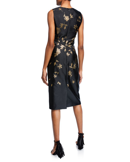 Sleeveless Cocktail Dress with Embroidered Leaves