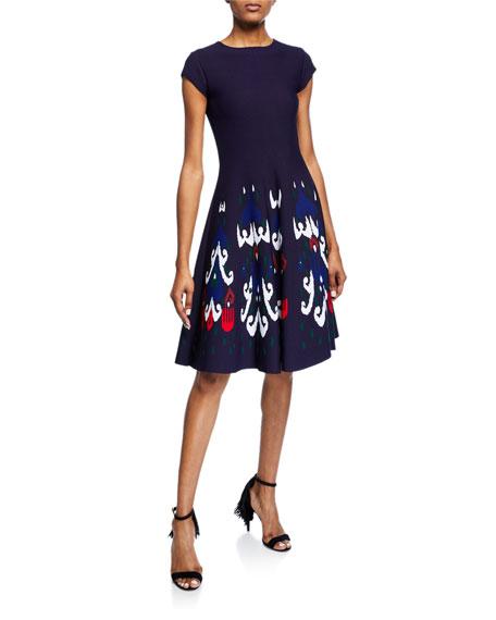 Short-Sleeve Patterned Day Dress