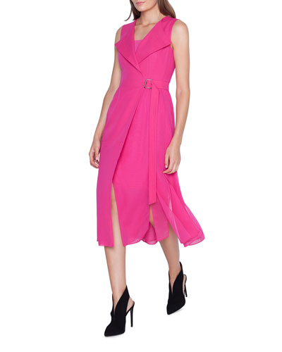 Sleeveless Belted Wrap Voile Dress