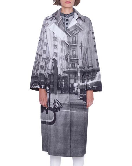 Akris Basia Magnet-Print Techno Trench Coat