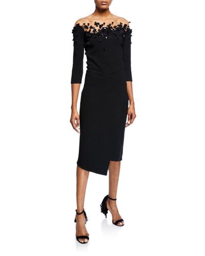 3/4-Sleeve Embroidered Illusion Dress