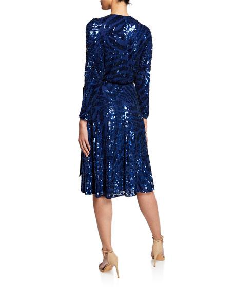 5143c0b0009 Jenny Packham Long-Sleeve Wrapped Beaded Cocktail Dress