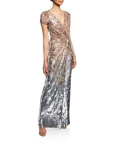 Short-Sleeve Sequined Deep V Gown