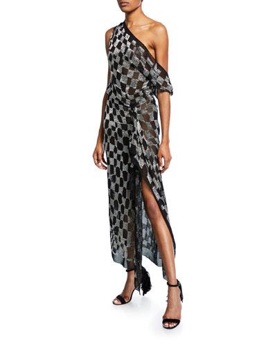 Metallic One-Shoulder Checked Dress