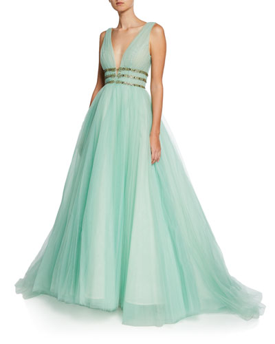 Deep-V Sleeveless Pleated Tulle Gown