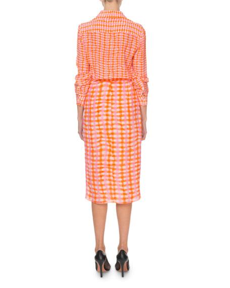 Tie-Dye Checkered Silk Long-Sleeve Shirtdress