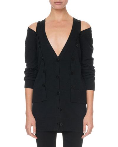 Cold-Shoulder Button-Front Vest Cardigan