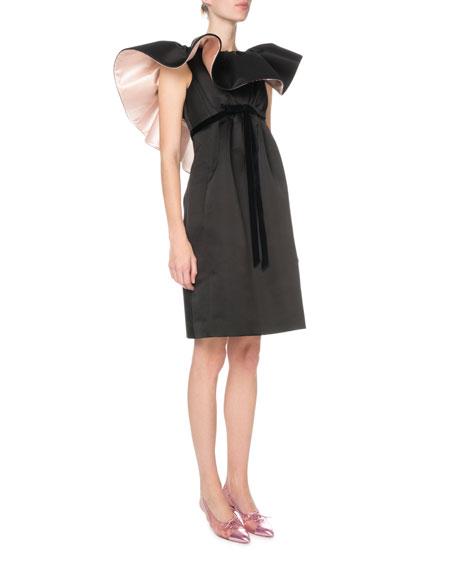 Ruffled-Neck Satin Cocktail Dress