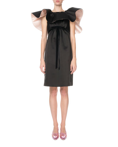 Ruffled-Neck Satin Cocktail Dress