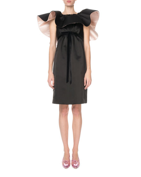Marc Jacobs Ruffled-Neck Satin Cocktail Dress