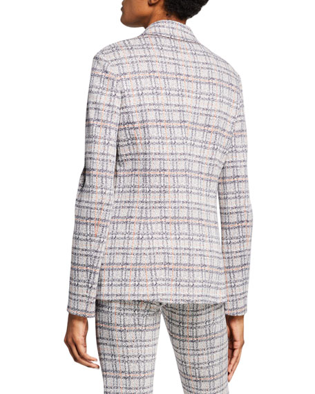 Plaid Jersey Fitted Jacket