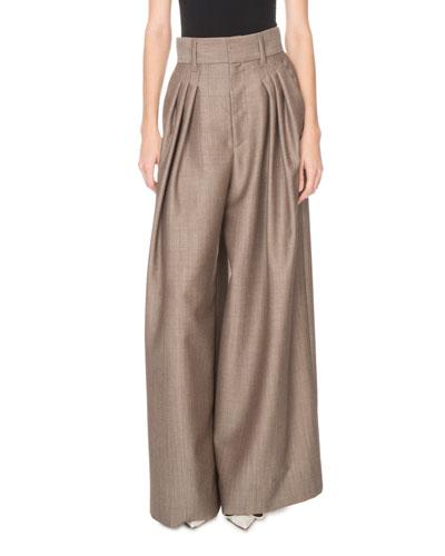 High-Waist Menswear Wide-Leg Trousers
