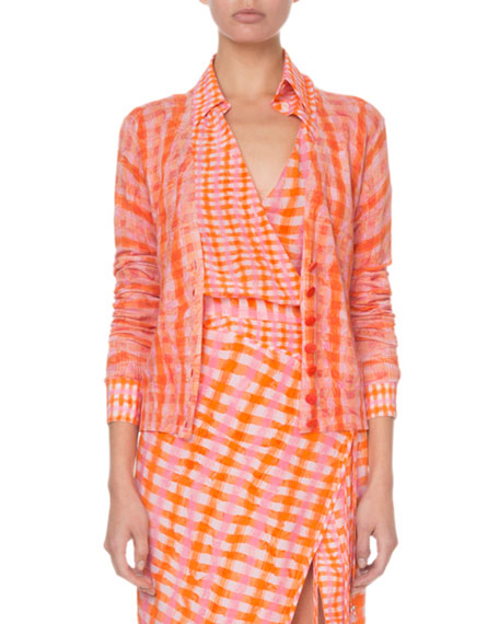 Tie-Dye Gingham Button-Front Cardigan Sweater