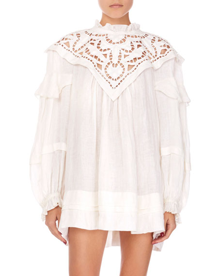 Isabel Marant Linen Lace High-Neck Dress