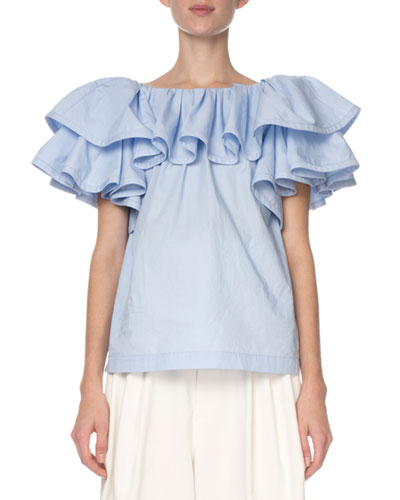 Tiered-Ruffle Poplin T-Shirt  Light Blue
