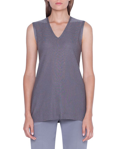 Sleeveless V-Neck Shimmer Silk Knit Pullover
