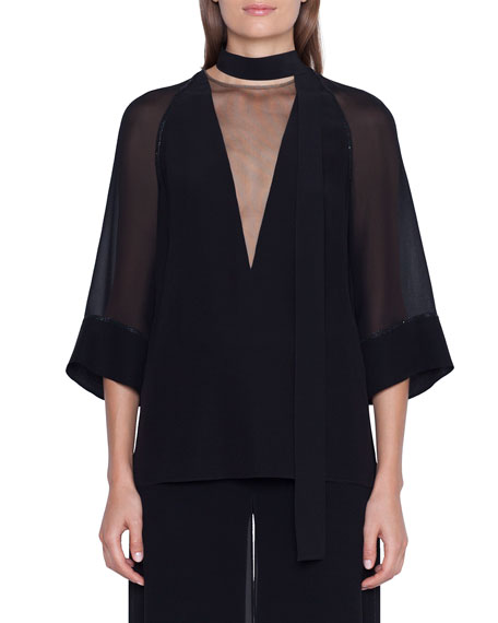 Akris Sheer-Silk Illusion V-Neck Kimono Top