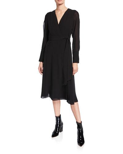 Long-Sleeve Silk Wrap Dress