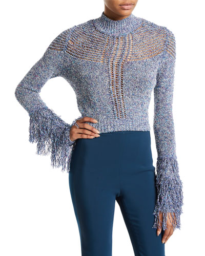 Fringe-Cuff Cutout Mock-Neck Sweater
